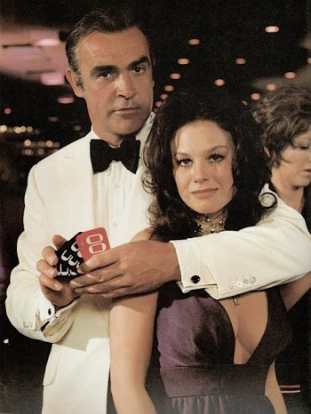 Sean Connery and Lana Wood in the seventh James Bond film, Diamonds are Forever (1971), filmed and set in Las Vegas.