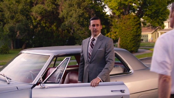 The last time we see Don looking like a successful Madison Avenue ad man. By the end of the next episode, his suit-wearing days would be behind him and even his luxury coupe would be in new hands.