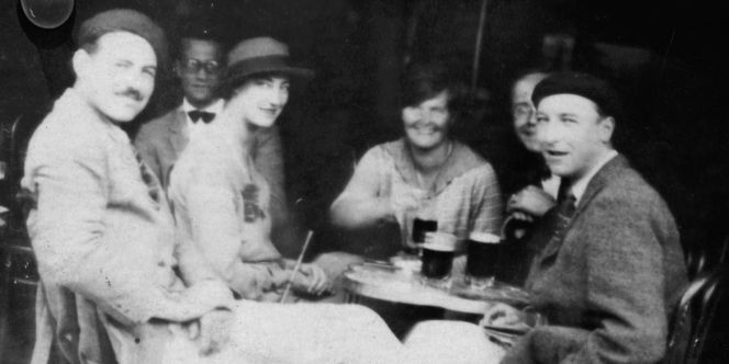 The real Ernest Hemingway (with mustache and beret), joined by Harold Loeb, Lady Duff Twysden, Hadley Richardson, Ogden Stewart, and Pat Guthrie for a July 1925 trip to Pamplona for the Festival of San Fermín that inspired him to begin writing The Sun Also Rises that same month.