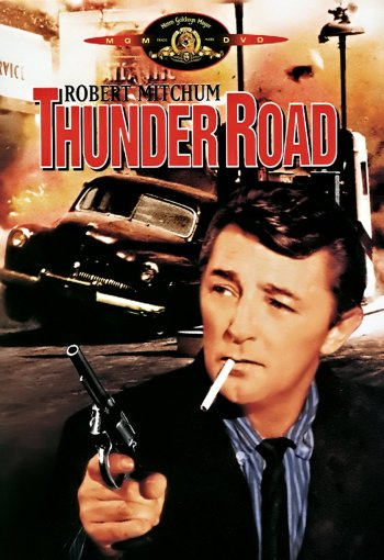 Contemporary home video cover art for Thunder Road (1958), which colorizes Robert Mitchum's shirt in shades of blue.