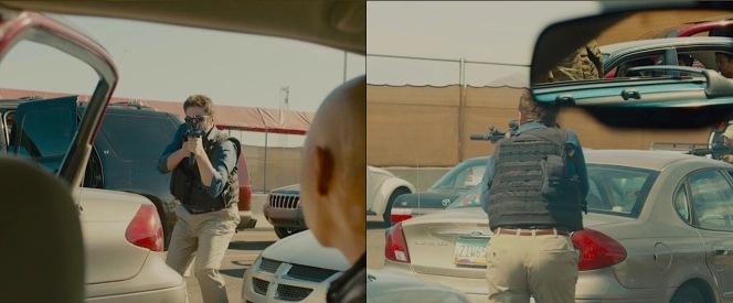 Alejandro in action during a gunfight at the Juárez-El Paso border crossing.