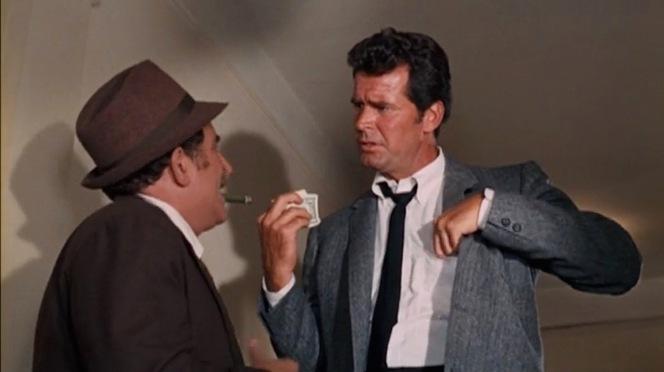 Marlowe has no patience for shady motel shamus Oliver Hady (George Tyne).