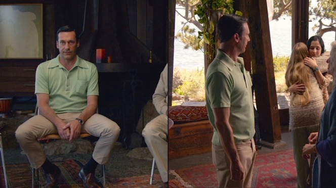 See the second photo... do you think that's Jon Hamm's iPhone in the back right pocket of Don's trousers?