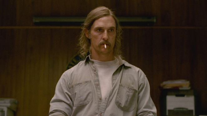 "Rust Cohle sizes up his interrogators in ""The Long Bright Dark"" (Episode 1.01)."