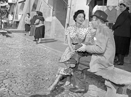 Ava Gardner and Humphrey Bogart on location in Portofino, February 1954.