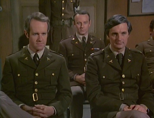 """Pinks and greens for B.J., Frank, and Hawkeye for the latter's trial in """"The Novocaine Mutiny"""" (Episode 4.21)."""