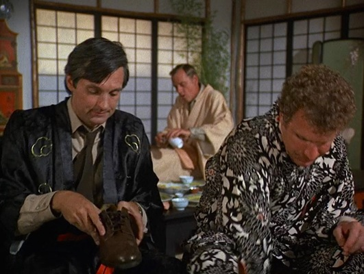 """Kimonos and service uniforms when visiting Henry Blake, who has been temporarily reassigned to Tokyo, in """"Henry, Please Come Home"""" (Episode 1.09)."""