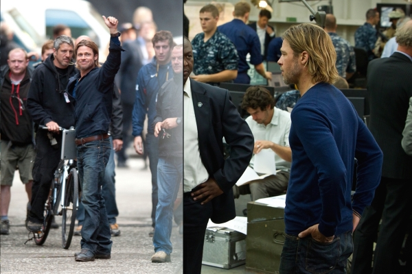 Left: Behind-the-scenes shot of Pitt during production in Glasgow, which doubled for Philly on screen. Right: Promotional photo of Pitt in World War Z.