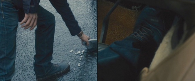 I know from experience how expensive it can be to replace a Volvo side mirror, so I can't blame Gerry from stopping to pick it up (left). I also can't blame him for slamming on the gas after realizing that zombies have taken control of Philadelphia (right).