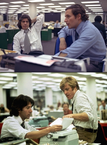 Top: The real Carl Bernstein and Bob Woodward in The Washington Post newsroom, 1973. Bottom: Hoffman and Redford as Bernstein and Woodward.