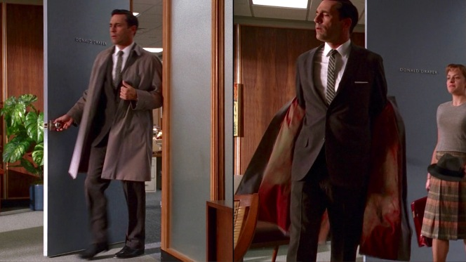 """Arriving at the office in """"Shoot"""" (Episode 1.09)."""