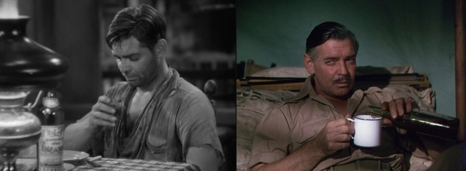 Seeing double? Gable's Dennis Carson (in Red Dust) and Victor Marswell (in Mogambo) both rely on Hennessy in their times of need.