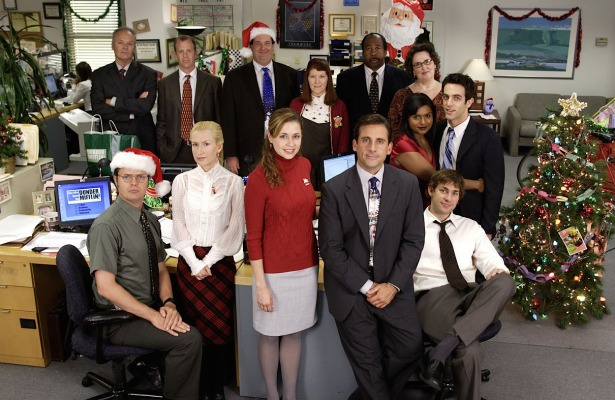 "The cast of The Office poses for a promotional shot of season 3's ""A Benihana Christmas"", though only the characters from Dunder-Mifflin's Scranton branch are featured."