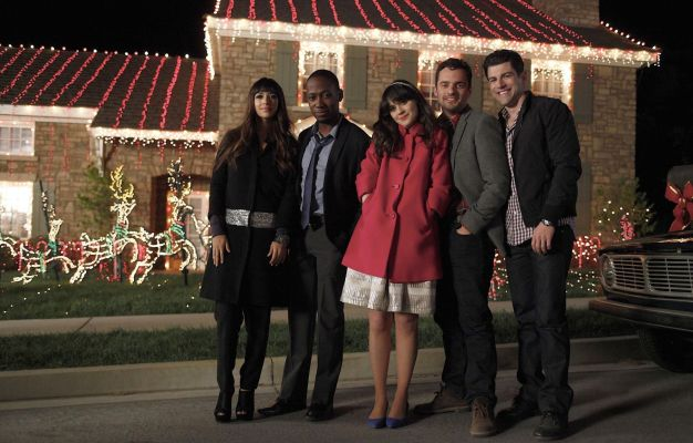 Promotional photo of New Girl's regular cast: Hannah Simone, Lamorne Morris, Zooey Deschanel, Jake Johnson, and Max Greenfield.