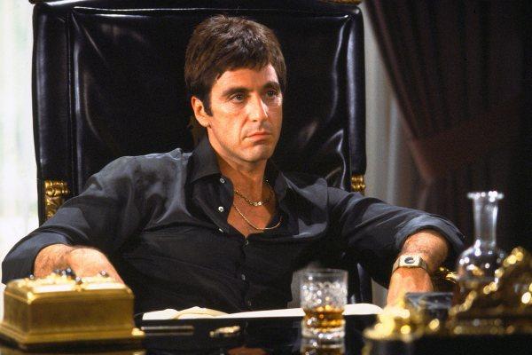Production photo of Al Pacino as Tony Montana.