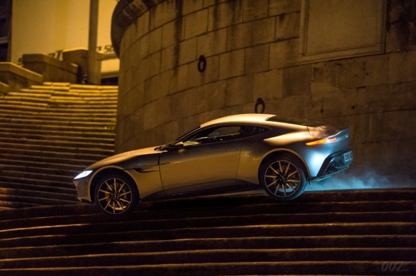Officially released production photo of Bond's DB10 in Rome.