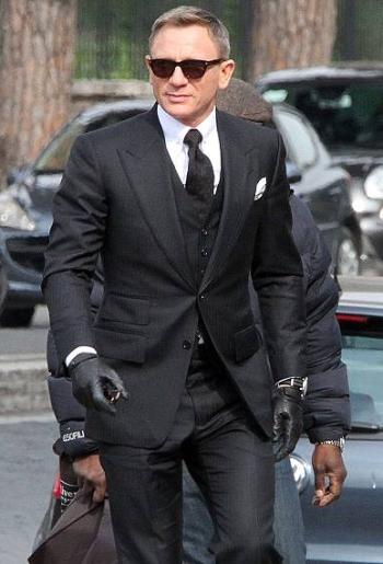 Daniel Craig as James Bond on the set of Spectre (2015)