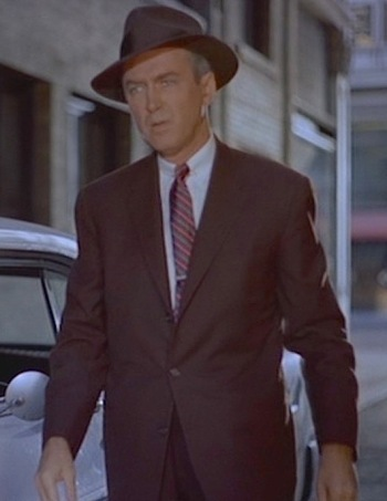 "James Stewart as John ""Scottie"" Ferguson in Vertigo (1958)"