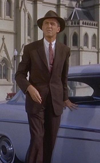"""James Stewart as John """"Scottie"""" Ferguson with his white DeSoto in Vertigo (1958)"""