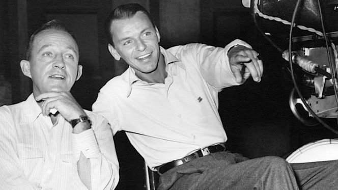 """Bing and Frank behind the scenes of """"Happy Holidays with Bing & Frank"""", late 1957."""
