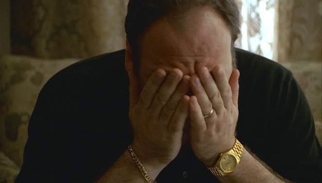 """46 Long"" (Episode 1.02): A familiar sight - Tony Soprano exasperated by his mother. In this case, he felt guilty after deriding her in his latest therapy session and headed straight to her house with flowers... but likely wishes that he hadn't bothered at all. Note that he is now wearing his signature yellow gold Rolex Day-Date on the President bracelet, but he's still missing the diamond-and-ruby pinkie ring that would appear over the next few episodes."