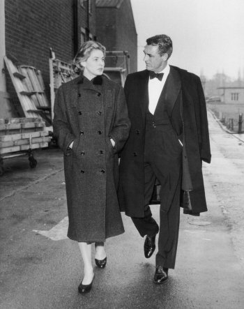 Ingrid Bergman and Cary Grant on the set of Indiscreet (1958). The dinner suit appears to be the same, though Grant wears cap-toe oxfords rather than the opera pumps he wears in-character.