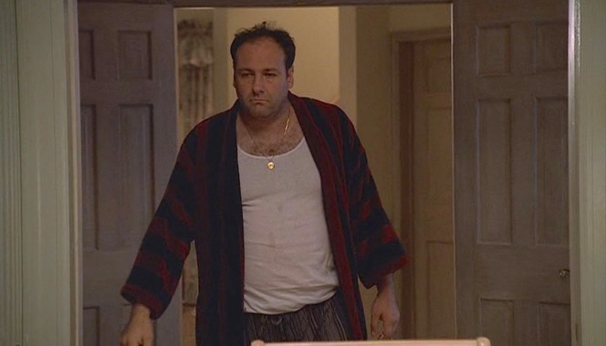 "Wearing a robe more for casual leisure than luxury, a depressed Tony Soprano joins his family for dinner in ""Isabella"" (Episode 1.12), the penultimate episode of the first season of The Sopranos."