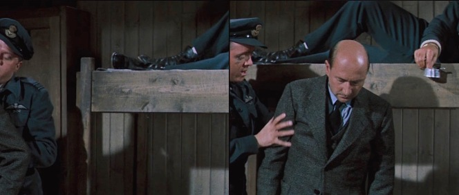 Hendley keeps his boots on even when kicking back in his bunk, as can be seen behind Roger and Colin as they determine the latter's fitness for escape.