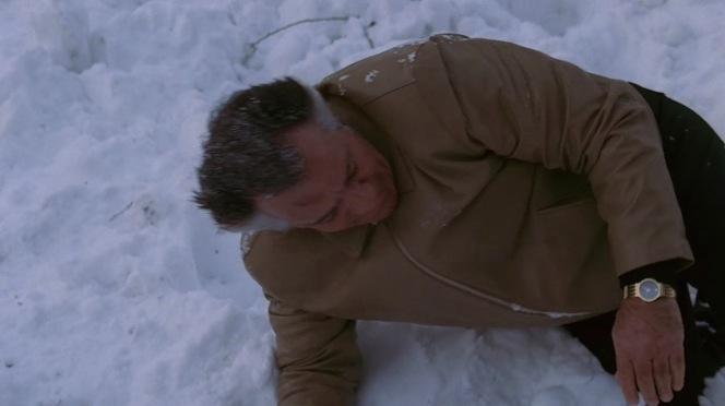 At least Paulie manages to keep his gold-finished Movado out of the snow.