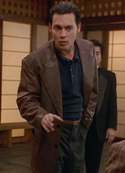 f48a8ebd1f3 Donnie Brasco s Brown Leather Blazer. Johnny Depp as Joe Pistone