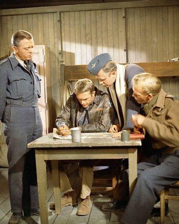 Richard Attenborough, Steve McQueen, Nigel Stock, and Gordon Jackson in The Great Escape (1963)