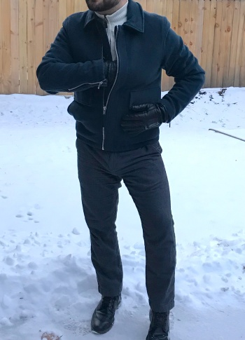 "My own ROYALE Filmwear ""Altaussee jacket"" with ivory Nautica quarter-zip, black-and-gray birdseye Banana Republic trousers, black calf Johnston & Murphy ""Conard"" wingtip boots, and black Aris Isotoner gloves."