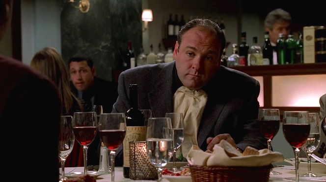 "Tony and his cohorts enjoy multiple glasses of Ruffino in ""Another Toothpick"" (Episode 3.05)."