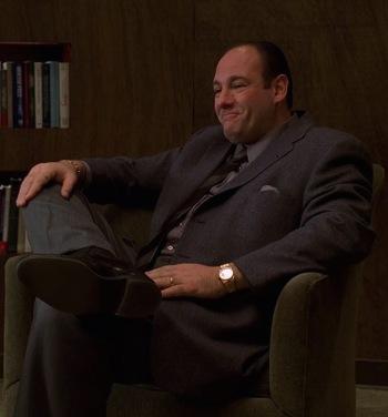 "James Gandolfini as Tony Soprano on The Sopranos (Episode 3.09: ""The Telltale Moozadell"")"