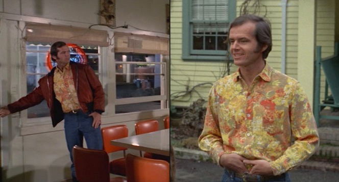 Shirt #3: The yellow-and-orange floral shirt is the trendiest—and thus, least timeless—item we see from Bobby's wardrobe.