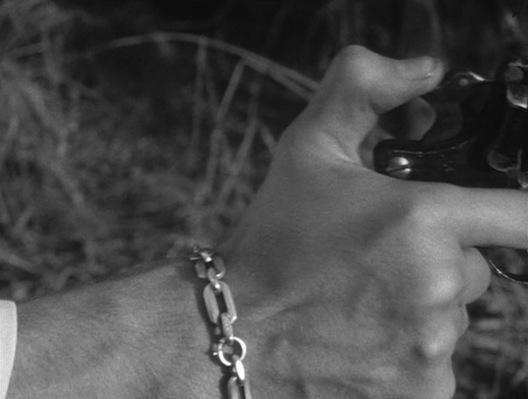 Michel raises his revolver.