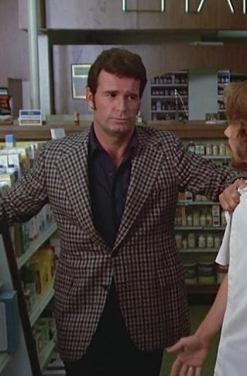 """James Garner as Jim Rockford on The Rockford Files (Pilot Episode: """"Backlash of the Hunter"""")"""