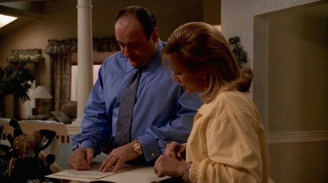 Tony takes Ginsberg's advice by signing all but one of Carmela's financial requests...a life insurance trust that could cause problems should the two divorce.