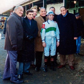 Champion jockey Aaron Gryder with the show's cast.
