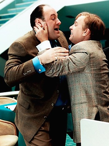 "James Gandolfini as Tony Soprano with Joe Pantoliano as Ralph Cifaretto on The Sopranos (Episode 4.05: ""Pie-o-My"")"