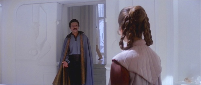 Lando greets Cloud City's latest arrivals.
