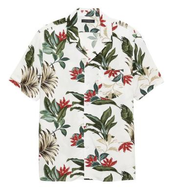 "Banana Republic's Soft Camp Shirt in ""Botanical Khaki"" provides a decent modern match to Poitier's summer shirt in Lilies of the Field."