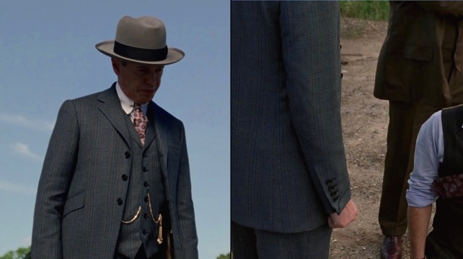 """Closer looks at Nucky's suit jacket and waistcoat details in """"White Horse Pike"""" (Episode 4.10)."""