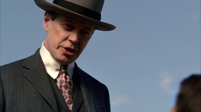 Nucky barks at Meyer Lansky, who once again finds himself on his knees and at gunpoint.