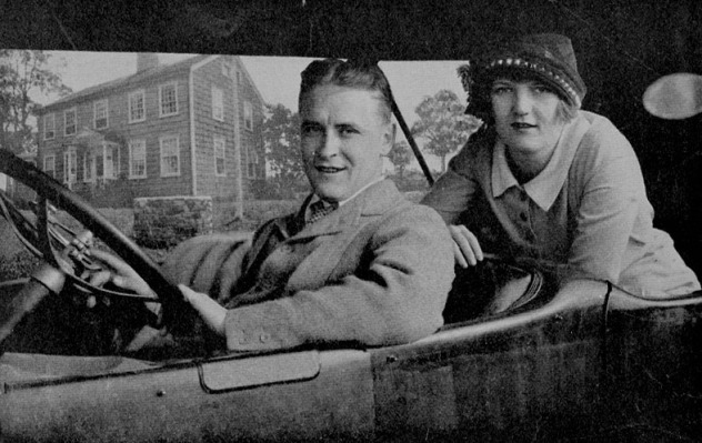 "F. Scott Fitzgerald and Zelda Fitzgerald head out for a drive outside their Westport, Connecticut, summer home, circa 1920. Scott may have had an outfit like this tweed Norfolk jacket when he wrote about Gatsby's ""caramel-colored suit"" for driving into the city in the fourth chapter of The Great Gatsby."