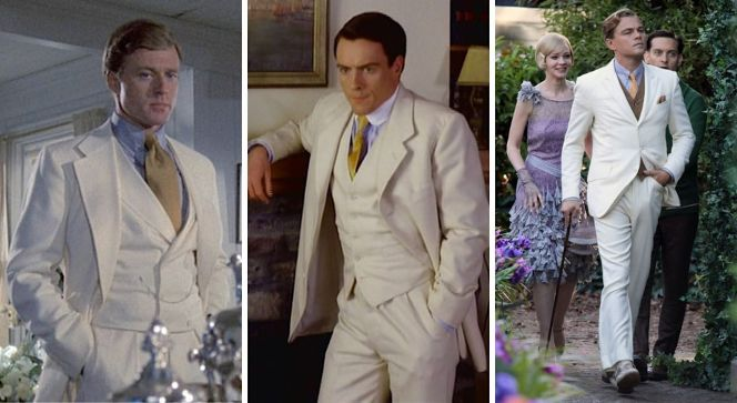 Three variations of Gatsby's famous white suit: a matching double-breasted waistcoat for Redford, a more conventional single-breasted waistcoat for Stephens, and a non-matching odd waistcoat for DiCaprio.