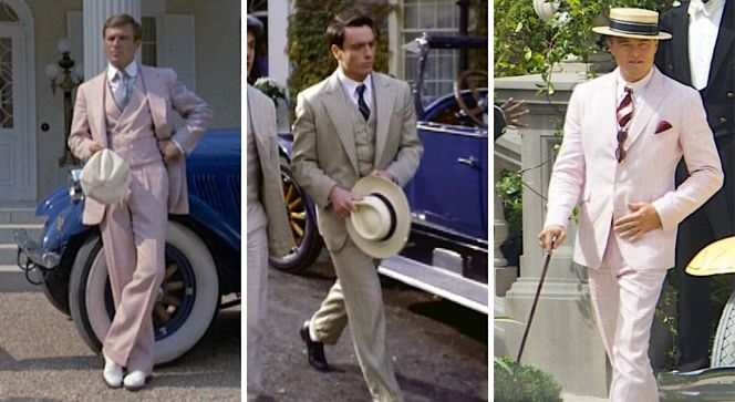 Three variations of Gatsby's loud suit for the climactic confrontation: Redford in solid pink linen, Stephens breaking from the established color with striped yellow suiting, and DiCaprio in period-perfect pink pinstripes.