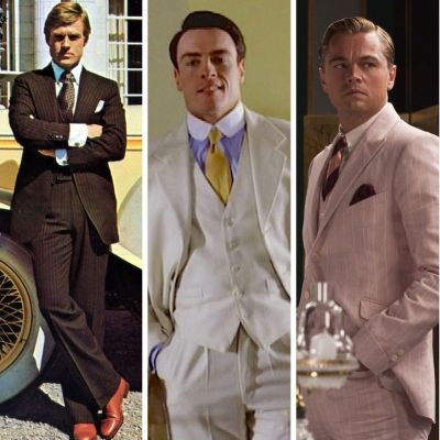 Robert Redford in The Great Gatsby (1974), Toby Stephens in The Great Gatsby (2000), and Leonardo DiCaprio in The Great Gatsby (2013)