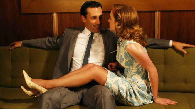 "Promotional photo of Don Draper (Jon Hamm) and Eleanor Ames (Megan Stier) in ""Long Weekend"" (Episode 1.10)."