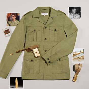 "The official Orlebar Brown ""Bond Safari Jacket"", accompanied by atmospheric props and photos."